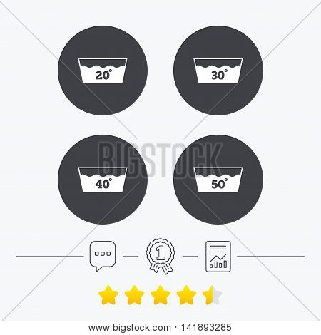 Wash icons. Machine washable at 20, 30, 40 and 50 degrees symbols. Laundry washhouse signs. Chat, award medal and report linear icons. Star vote ranking. Vector