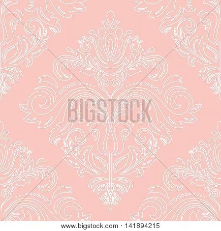 Oriental classic pattern. Seamless abstract pattern. Nice pattern with repeating elements. Pink and white pattern. Fine pattern with white outlines
