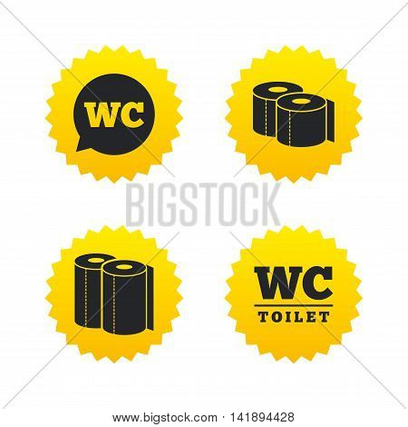 Toilet paper icons. Gents and ladies room signs. Paper towel or kitchen roll. Speech bubble symbol. Yellow stars labels with flat icons. Vector