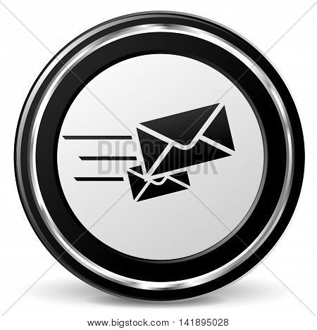 Illustration of rapid mail black and gray icon