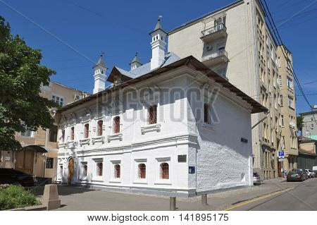 MOSCOW, RUSSIA - MAY 31, 2016: Chamber of Gregory Araslanova Bryusov Lane house 1a architectural monument of the 17th century the object of cultural heritage