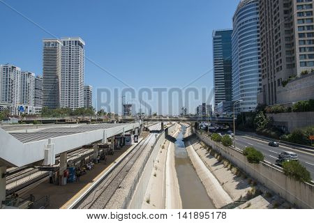 Tel Aviv, Israel-27 July, 2016 : Ayalon highway view from Savidor railway station in Tel aviv
