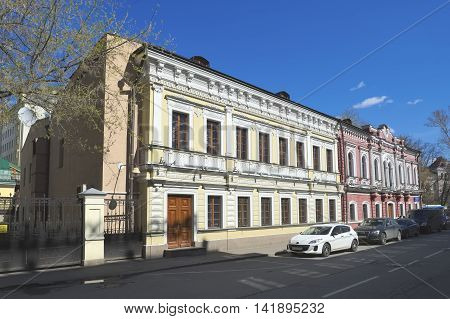 MOSCOW, RUSSIA - APRIL 24, 2016: City estate A. T. Rzhevsky - Likhachevs - Philipp M. Gagarin Lane 5/2 landmark 18-19 century an object of cultural heritage