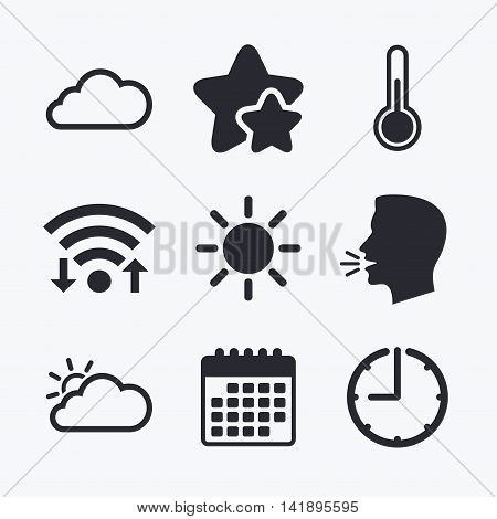Weather icons. Cloud and sun signs. Thermometer temperature symbol. Wifi internet, favorite stars, calendar and clock. Talking head. Vector