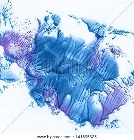 Beautiful blue and purple blobs on white background. Graphics, monotype.