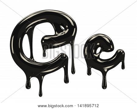 Petroleum black font with blobs. 3d rendering
