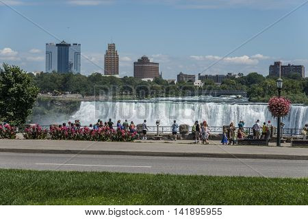 Niagara Falls, Canada-6 August, 2013 : Tourists and visitors watching the Niagara Falls