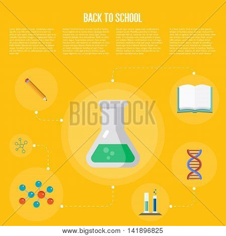 Back to school infographics concept icons flat design vector illustration. Concept icons of education and learning. Knowledge sign. Education icon flat vector. Education concept. Learning concept. School and university icon.