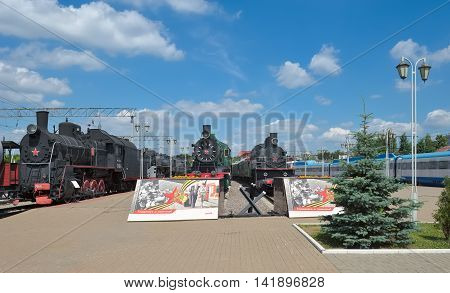 MOSCOW, RUSSIA - JUNE 23, 2016: History Museum of railway equipment of the Moscow Railway Rizhskiy railway station landmark