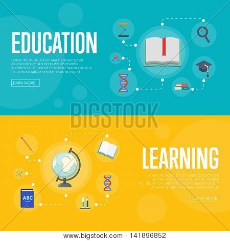 Banners of education and learning infographics concept icons background flat design vector illustration. Education flat vector. Education concept. Learning icon. Education icon. Learning concept. Knowledge sign. School and university icon.