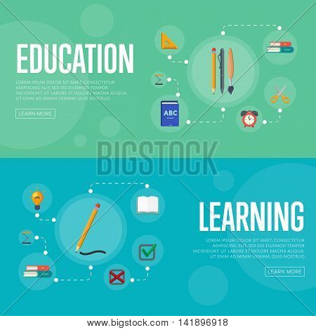 Banners of education and learning infographics concept icons background flat design vector illustration. Education concept. Learning icon. Education icon. Learning concept. Knowledge sign. School and university icon.