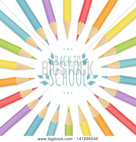 School background with multicolored pencils. Vector illustration.