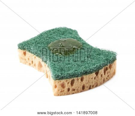 Artificial fiber kitchen sponge with a drop of a dishwashing liquid isolated over the white background
