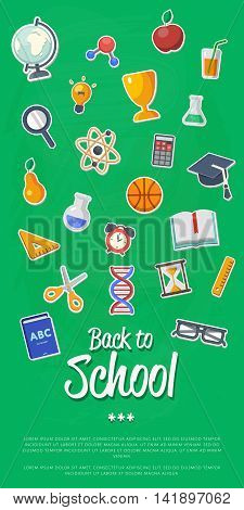Back to school banner with flat vector icons. Vector flat Illustration. Back to school. Concepts for web banners. Back to school concept. Arts and science stickers. Education concept. School symbols.