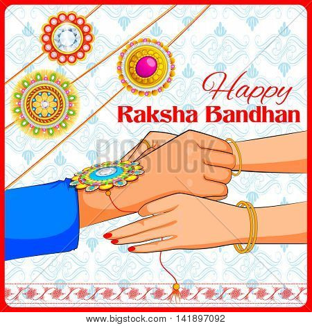 illustration of brother and sister tying rakhi on Raksha Bandhan