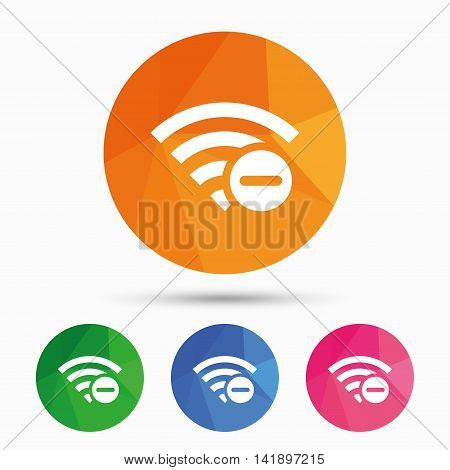 Wifi minus sign. Delete Wi-fi symbol. Wireless Network icon. Wifi zone. Triangular low poly button with flat icon. Vector