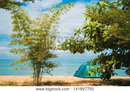 Photo of the Camping Tent on Beach. Concept tourism, active rest, vacation Malaysia