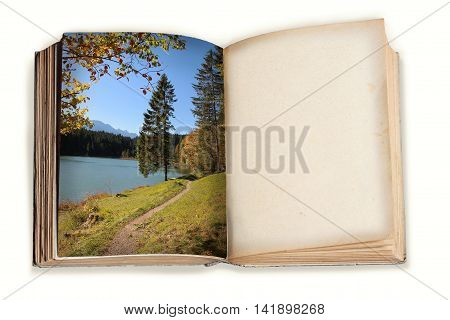 Vintage Book With Autumn Landscape And Empty Page