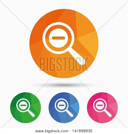 Magnifier glass sign icon. Zoom tool button. Navigation search symbol. Triangular low poly button with flat icon. Vector