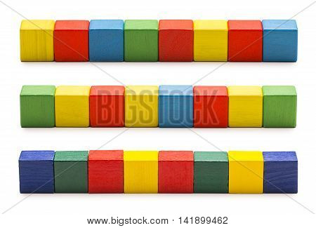 Toy Blocks Wood Cube Bricks Row of Multicolor Cubic Boxes White Isolated Clipping Path