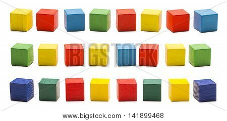 Toy Blocks Wooden Cube Bricks Colored Wood Cubic Boxes Set White Isolated Clipping Path