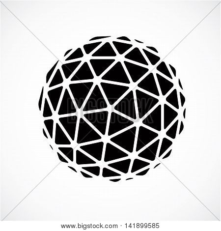 Black and white faceted orb created from triangles dimensional vector sphere. Low poly geometric design element for use in engineering and technology.