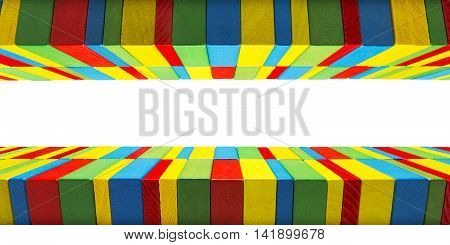 Toys Blocks Border Background Children Games Color Wood Building Bricks Clipping Path
