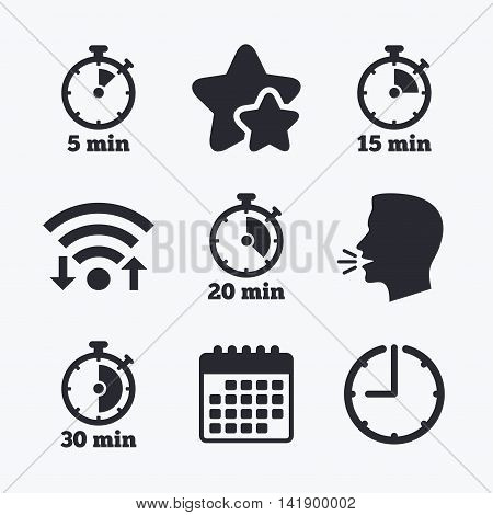 Timer icons. 5, 15, 20 and 30 minutes stopwatch symbols. Wifi internet, favorite stars, calendar and clock. Talking head. Vector