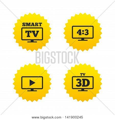 Smart TV mode icon. Aspect ratio 4:3 widescreen symbol. 3D Television sign. Yellow stars labels with flat icons. Vector