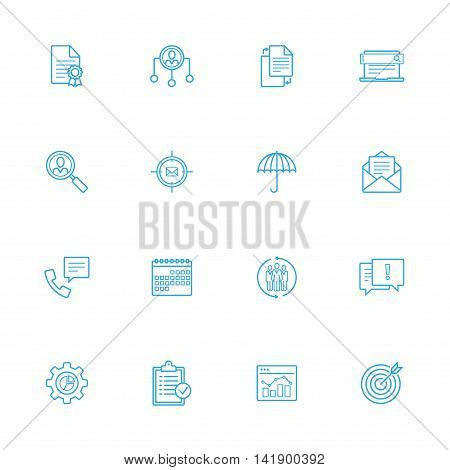 Bussines and office blue line of icons set of 16