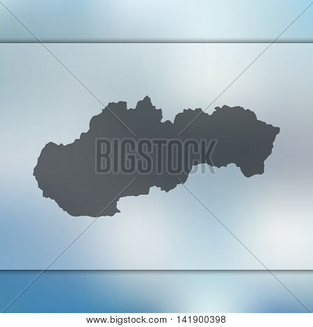 Slovakia map on blurred background. Blurred background with silhouette of Slovakia. Slovakia. Slovakia vector map. Slovakia flag.