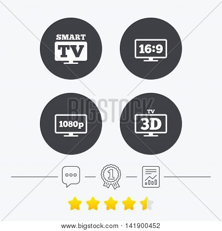 Smart TV mode icon. Aspect ratio 16:9 widescreen symbol. Full hd 1080p resolution. 3D Television sign. Chat, award medal and report linear icons. Star vote ranking. Vector
