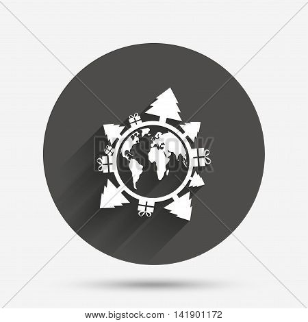 Happy new year earth sign icon. Gifts and trees symbol. Full rotation 360. Circle flat button with shadow. Vector