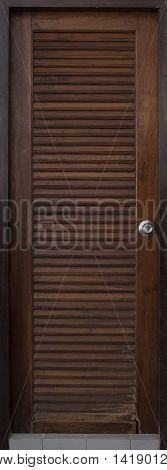 Old Wood Door With Louvers, Retro Abstract Background