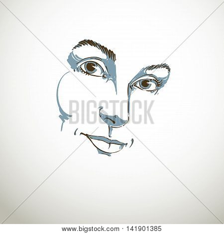 Creative hand-drawn art portrait of white-skin melancholic lady silhouette of woman face.