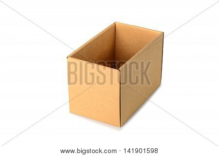 Brown Cardboard Box Package, Isolated On White Background