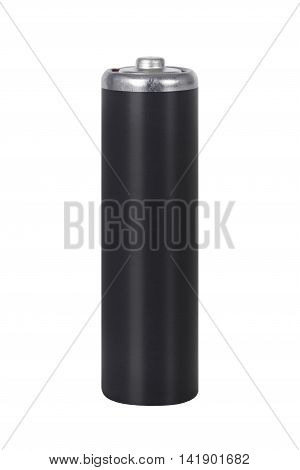 Closeup of black AA battery isolated on white background