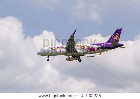 Bangkok,Thailand-Jul 24,2016:Closeup of a Thai Airways plane in the sky before landing at the Suvarnabhumi airport.