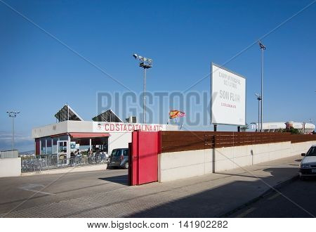 PALMA DE MALLORCA BALEARIC ISLANDS SPAIN - APRIL 2 2016: Entrance to Son Flor training grounds of FC Santa Catalina a 3rd division football soccer team in Palma de Mallorca Balearic islands Spain on April 2 2016.