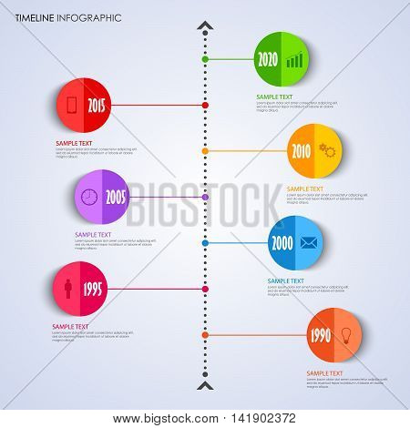 Time line info graphic with bent round pointer template vector eps 10