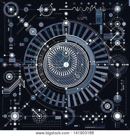 Technical drawing with dashed lines and geometric shapes vector futuristic