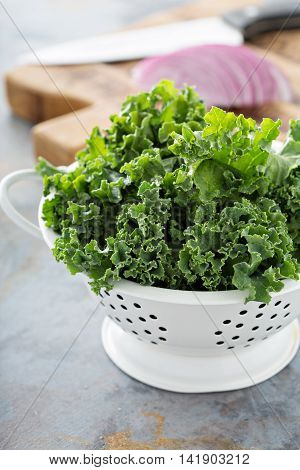 Fresh kale in a colander ready to be cooked