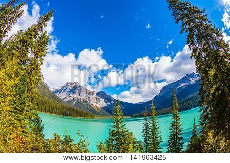 Magic Emerald Lake in Yoho National Park, Rocky Mountains. The emerald-green lake surrounded by a coniferous forest
