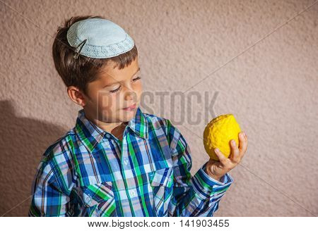 Very beautiful seven year old boy in  white knitted kippah is holding citrus. Citrus -  ritual fruit for Sukkot