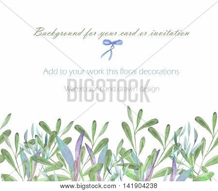 Background, template postcard with the watercolor green branches and plants, hand drawn on a white background, greeting card, decoration postcard or invitation