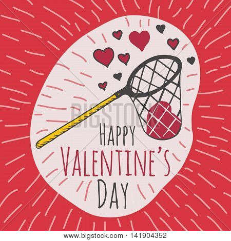 Valentines Day card with illustrated scoop-net and hearts. Vector illustrated colorful scoop-net with heart on red background.