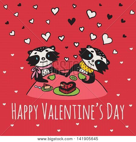 Valentines Day card with illustrated raccoon couple drinking tea. Vector illustrated colorful raccoon couple on red background.