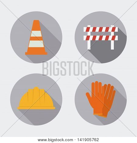 Cone helmet gloves barrier icon. Industrial Security. Colorfull Vector illustration