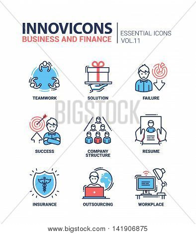Busness and Fnance - modern vector thin line flat design icons and pictograms set. Teamwork, solution, failure, success, company structure, resume, insurance, outsourcing, work place