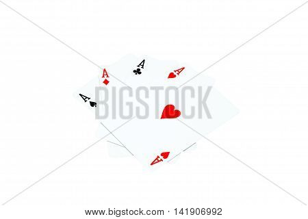 Ace of hearts and other ace on white background